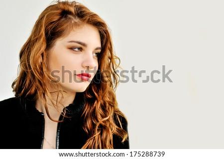 portrait of beautiful teen girl - stock photo