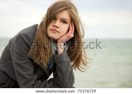 Portrait of beautiful teen girl at outdoor. - stock photo