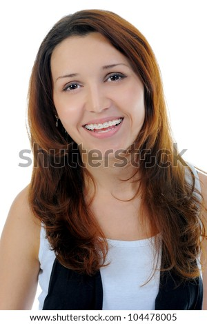 Portrait of beautiful teen girl in braces. Isolated on a white background - stock photo