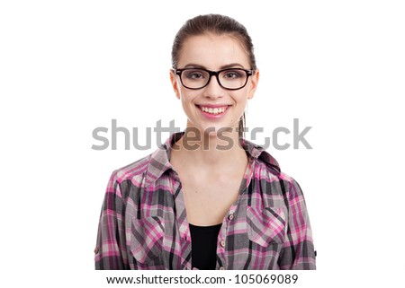 portrait of beautiful teen girl smiling, with wayfarers, isolated on white background - stock photo