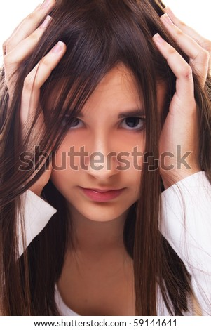 Portrait of beautiful teenage girl on white background