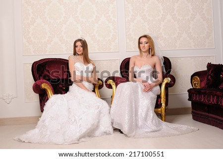 portrait of beautiful two  brides in luxury interior