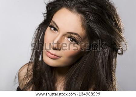 portrait of beautiful woman - stock photo