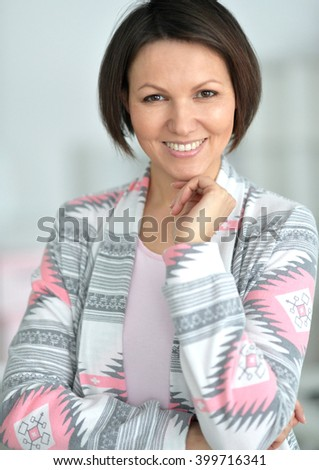 portrait of beautiful woman  at home - stock photo