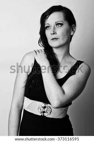 Portrait of beautiful woman. Beautiful woman with evening make-up. Black and White. Fashion photo. - stock photo