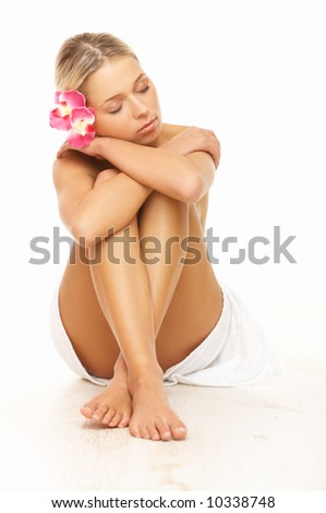 Portrait of beautiful woman before spa treatment - stock photo