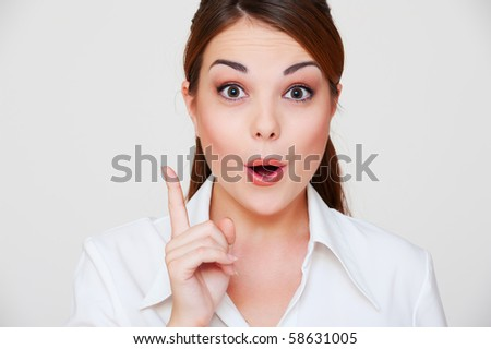 portrait of beautiful woman have the idea - stock photo