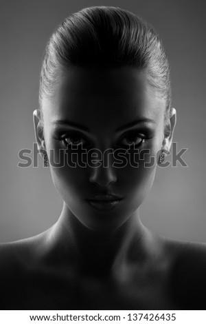 Portrait Of Beautiful Woman in Black & White - stock photo