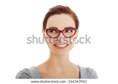 Portrait of beautiful woman in eyeglasses looking up. Isolated on white. - stock photo