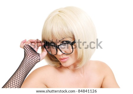 Portrait of beautiful woman in glasses on white background - stock photo