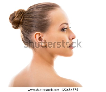 Portrait of beautiful woman in profile on a white background