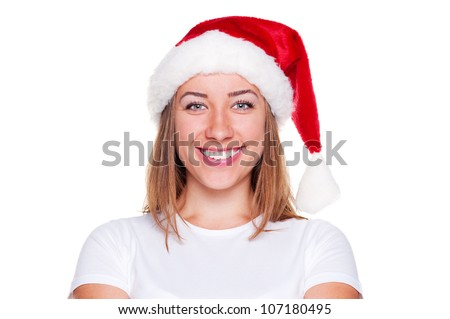 portrait of beautiful woman in santa hat. isolated on white background - stock photo