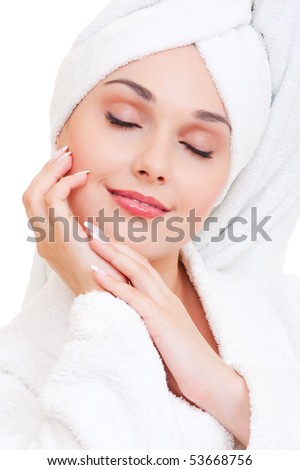 portrait of beautiful woman in white towel - stock photo