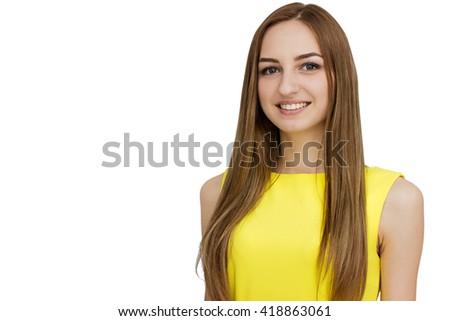 Portrait of beautiful woman in yellow dress - stock photo