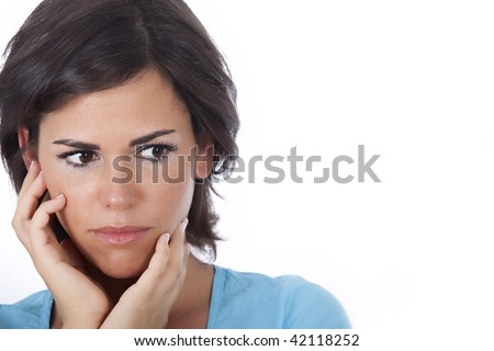 Portrait of beautiful woman is worried, on white background - stock photo