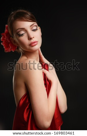 Portrait of beautiful woman , isolated on black background