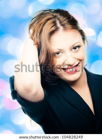 portrait of beautiful woman isolated on white - stock photo