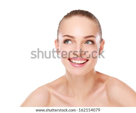 Portrait of beautiful woman , isolated on white background - stock photo