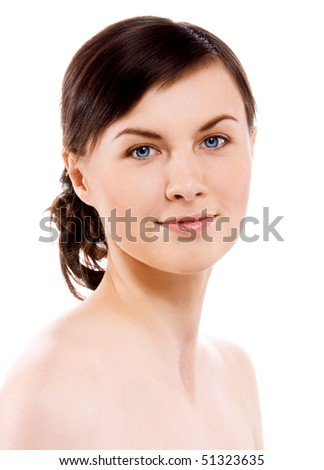 portrait of beautiful woman isolated on white background - stock photo