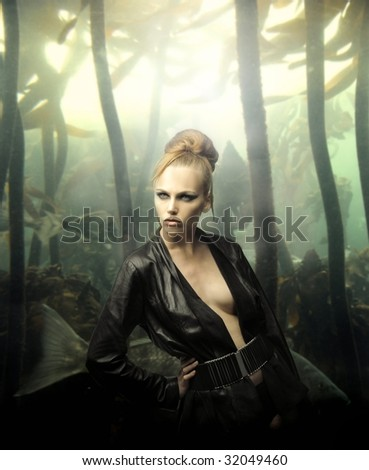 portrait of beautiful woman model against underworld background - stock photo