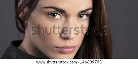 portrait of beautiful woman model in studio - stock photo