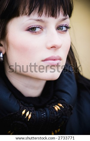 Portrait of beautiful woman outdoor - stock photo