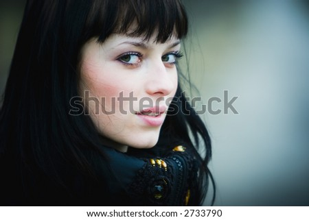 Portrait of beautiful woman outdoor