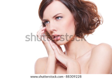 portrait of beautiful woman over white background
