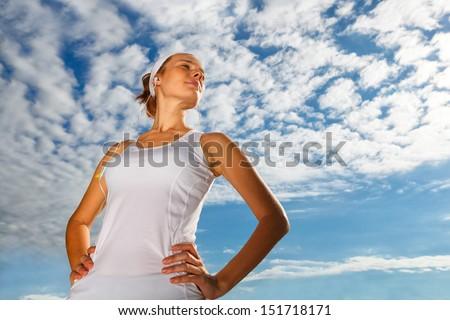 Portrait of Beautiful Woman ready to start workout - stock photo