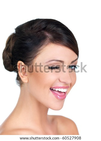 Portrait of beautiful woman, she blinking with one eye - stock photo