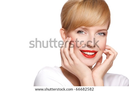 Portrait of beautiful woman, she has red lipstick, looking at camera - stock photo