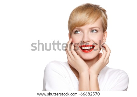 Portrait of beautiful woman, she has red lipstick, looking at copyspace - stock photo