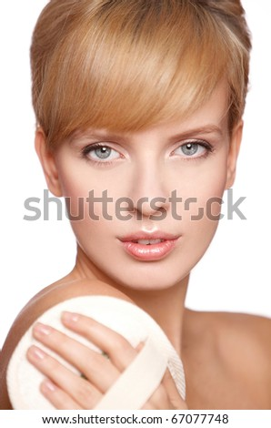 Portrait of beautiful woman she is doing massage, isolated on white - stock photo