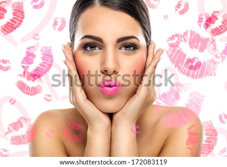 Portrait of beautiful woman, she is sending kiss - stock photo