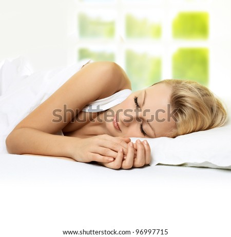 Portrait of beautiful woman sleeping . - stock photo
