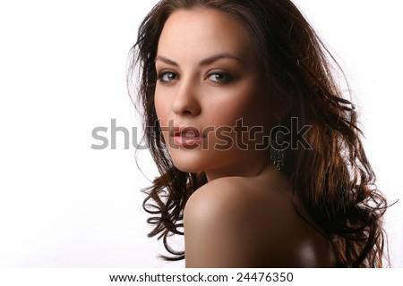 portrait of beautiful woman wearing a black bra - stock photo