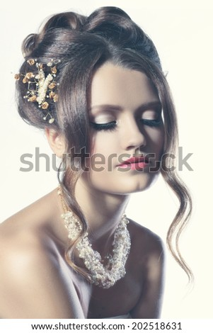 Portrait of Beautiful Woman Wedding Model. Advertising and Commercial Design. Shopping. Perfect Hairstyle and Bridal Make Up. Fashion Toning - stock photo