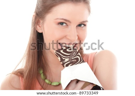 portrait of beautiful woman with a chocolate - stock photo