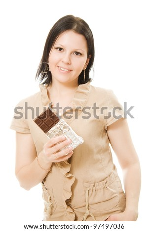 portrait of beautiful woman with a chocolate on a white background.