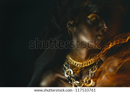 Portrait of beautiful woman with black skin - stock photo