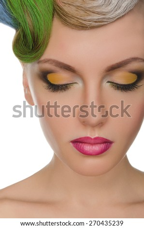 Portrait of beautiful woman with bright makeup isolated on white - stock photo