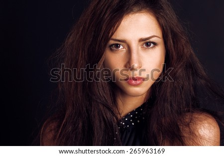 portrait of beautiful woman with brown eyes