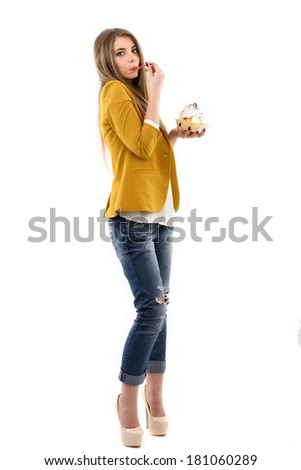 Portrait of beautiful woman with cake isolated over white background - stock photo