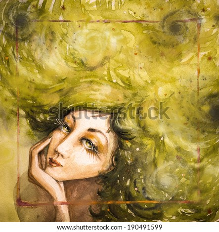 Portrait of beautiful woman with green hair.Picture created with watercolors.