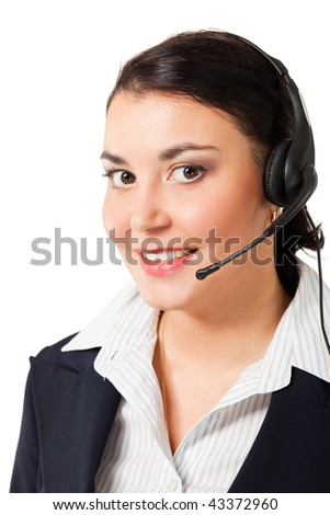 portrait of beautiful woman with headphone isolated on white background - stock photo