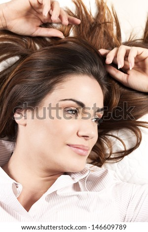 Portrait of beautiful Woman with Healthy Long Hair  - stock photo