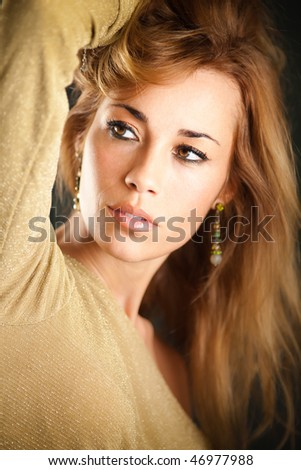 portrait of beautiful woman with long hair, looking away. Vertical shape - stock photo