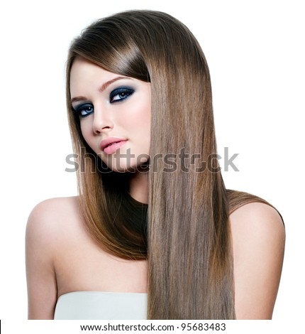 Portrait of beautiful woman with long straight hair and beauty eyes - white background - stock photo