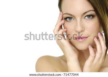 portrait of beautiful woman with professional makeup - stock photo