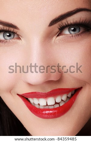 Portrait of Beautiful  Woman With Red lips.  Nice Makeup Closeup.
